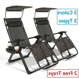 Folding Zero Gravity Chairs Case Of 2 Heavy Duty Garden Recl