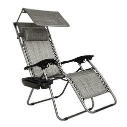 Folding Zero Gravity Lounge Chairs+Utility Tray Outdoor Beac
