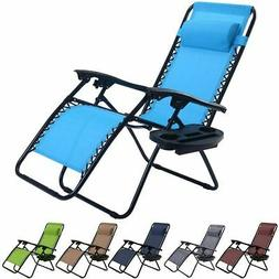 Folding Zero Gravity Reclining Lounge Chair Outdoor Beach Pa