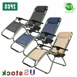 Folding Zero Gravity Reclining Lounge Chairs Outdoor Beach P