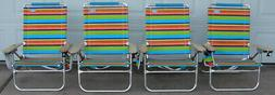 Four Brand New Rio Beach 4 Position Beach Chairs with Deluxe