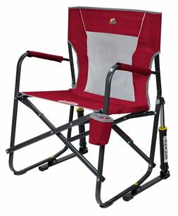GCI Outdoor Freestyle Rocker Mesh Chair Folding Portable Cup