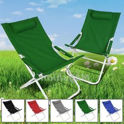 Green Curved Chair Folding Lounge Reclining Patio Pool Beach