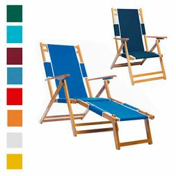 Heavy Duty Commercial Grade Oak Wood Beach Chair / Chaise Lo