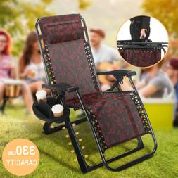 HeavyDuty Reclining Folding Zero Gravity Chair Beach Garden