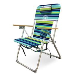 High Back Beach Chair with Wood Armrests, Double Shoulder St