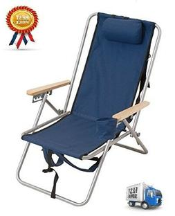 High Back Steel Backpack Beach Chair By Wearever Blue Rio Br