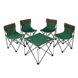 Kids Portable Folding Camp Chairs Table Set 4 Chairs + 1 Tab