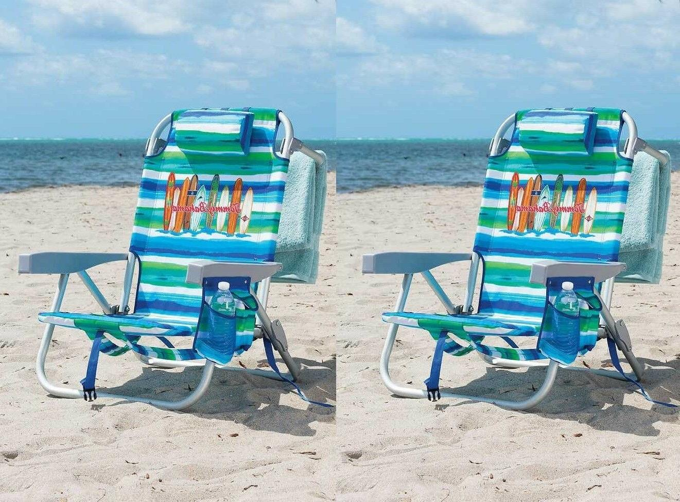 2 backpack beach chair green 5 positions