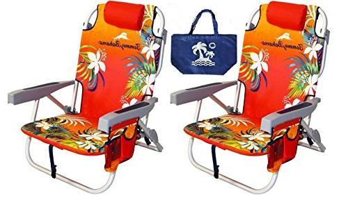 2 backpack beach chairs red