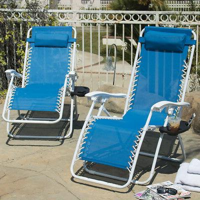 2 Folding Reclining Chairs+Utility Outdoor Patio