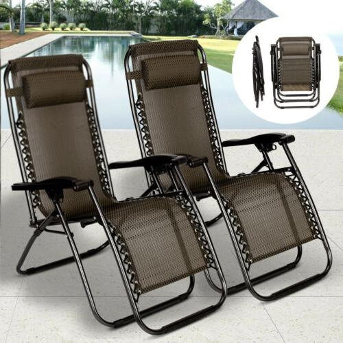2 Zero Folding Lounge Beach Outdoor Recliner in Paid