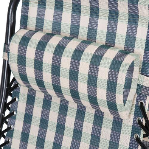 2 Gravity Lounge Chairs Canopy Retro Plaid