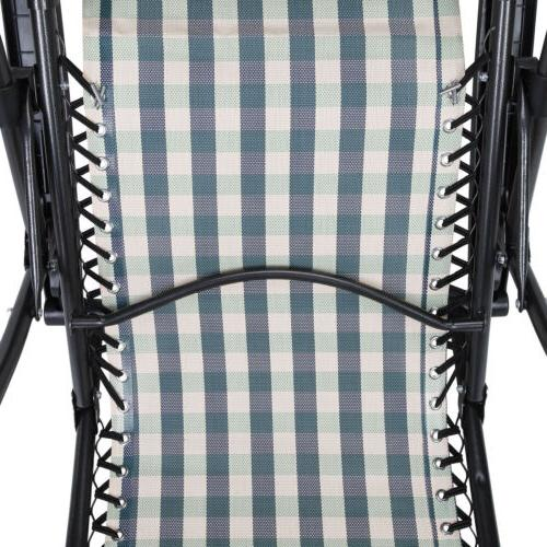 2 Gravity Lounge Beach Chairs With Plaid
