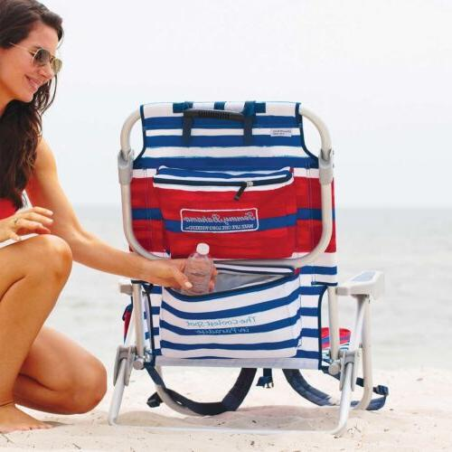 Tommy Cooler Chair with Pouch Bar- redblue
