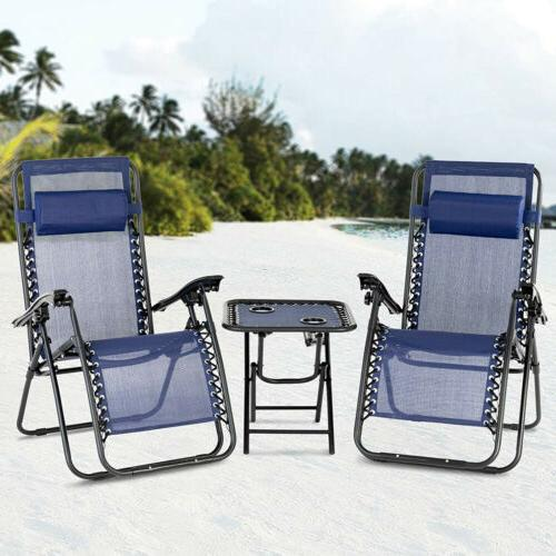Portable Patio Chairs & Table Set Zero Gravity Recline Loung