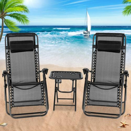 3PC Zero Gravity Folding Adjustable Patio Beach Lounge Chair