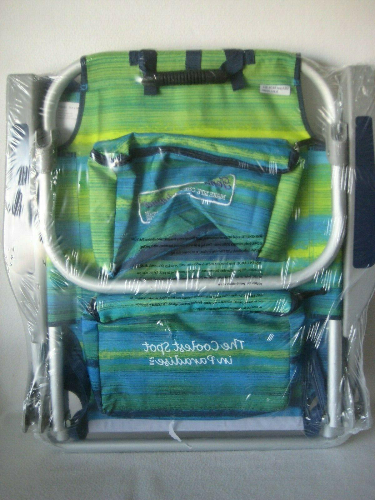 Tommy Backpack Chair - Blue/Green NEW