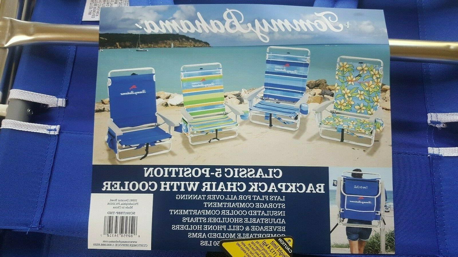 Tommy Bahama 5 Position BLUE STRIPED Beach Chair Cooler