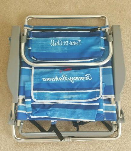 5 position blue striped backpack beach chair