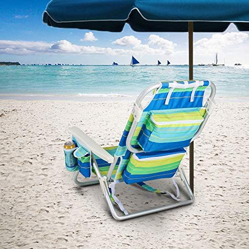 YATIO--- Positions Flat Backpack Beach Chair Camping Chair, Aluminum Insulated Adjustable Pillow,Blue/Green Stripe