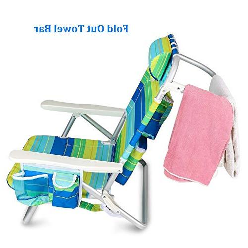 YATIO--- 5 Positions Lay Camping Chair, Aluminum Lightweight, Insulated Drink Adjustable Pillow,Blue/Green