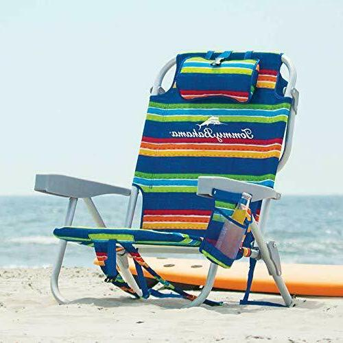 Foldable Beach Chair Backpack Drink Holder Stripes Fabric Pa