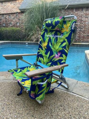 backpack beach chair 5 positions wooden arms
