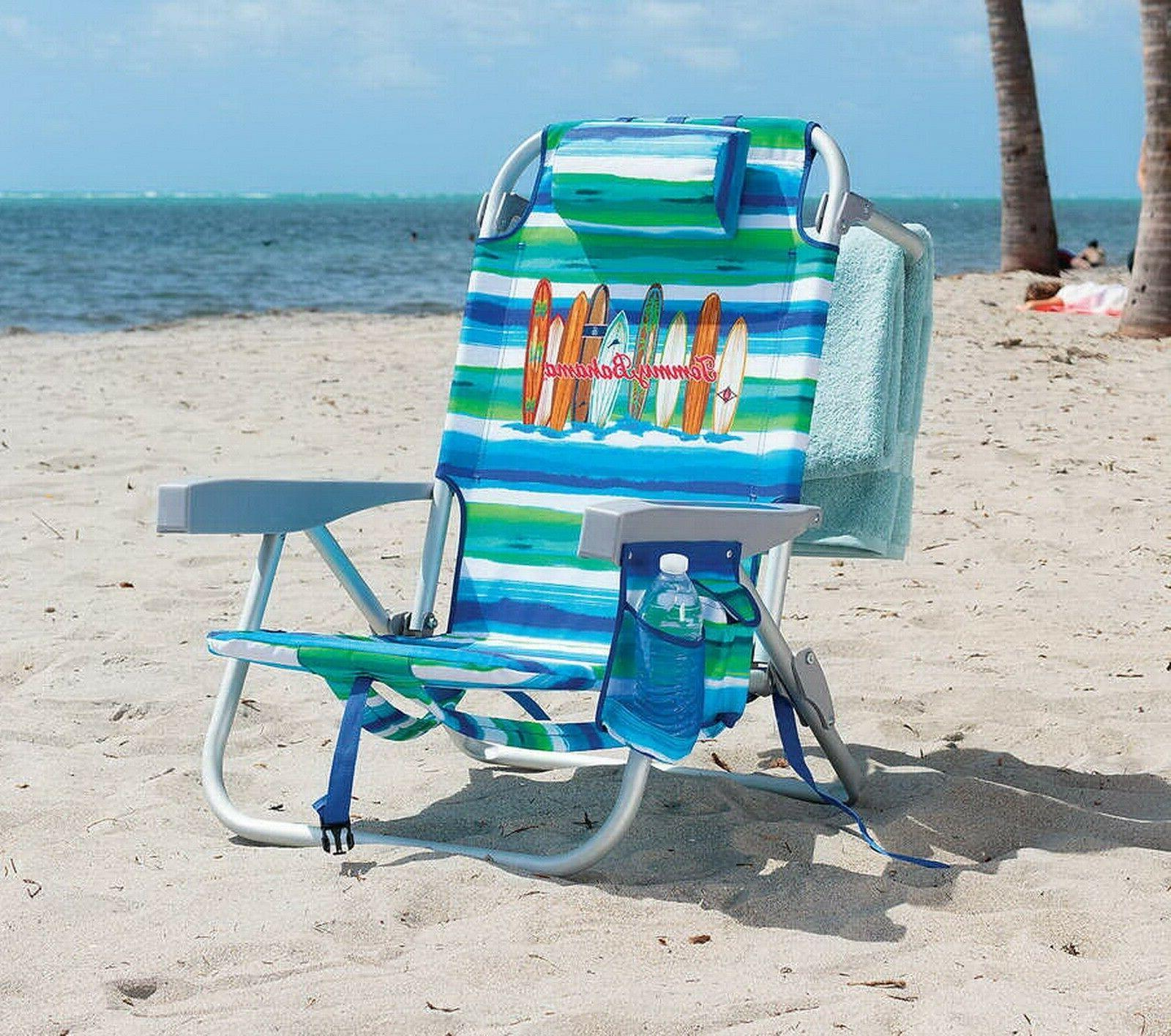 Tommy Bahama Backpack Beach Chair Portable Seat with Drink Holder Pocket