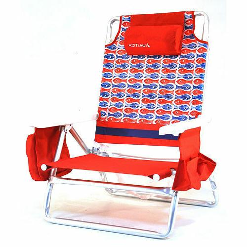 Nautica Beach Chair with Cooler & Cup Holder 5 Position Recl