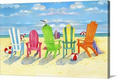 brighton beach chairs canvas wall art print