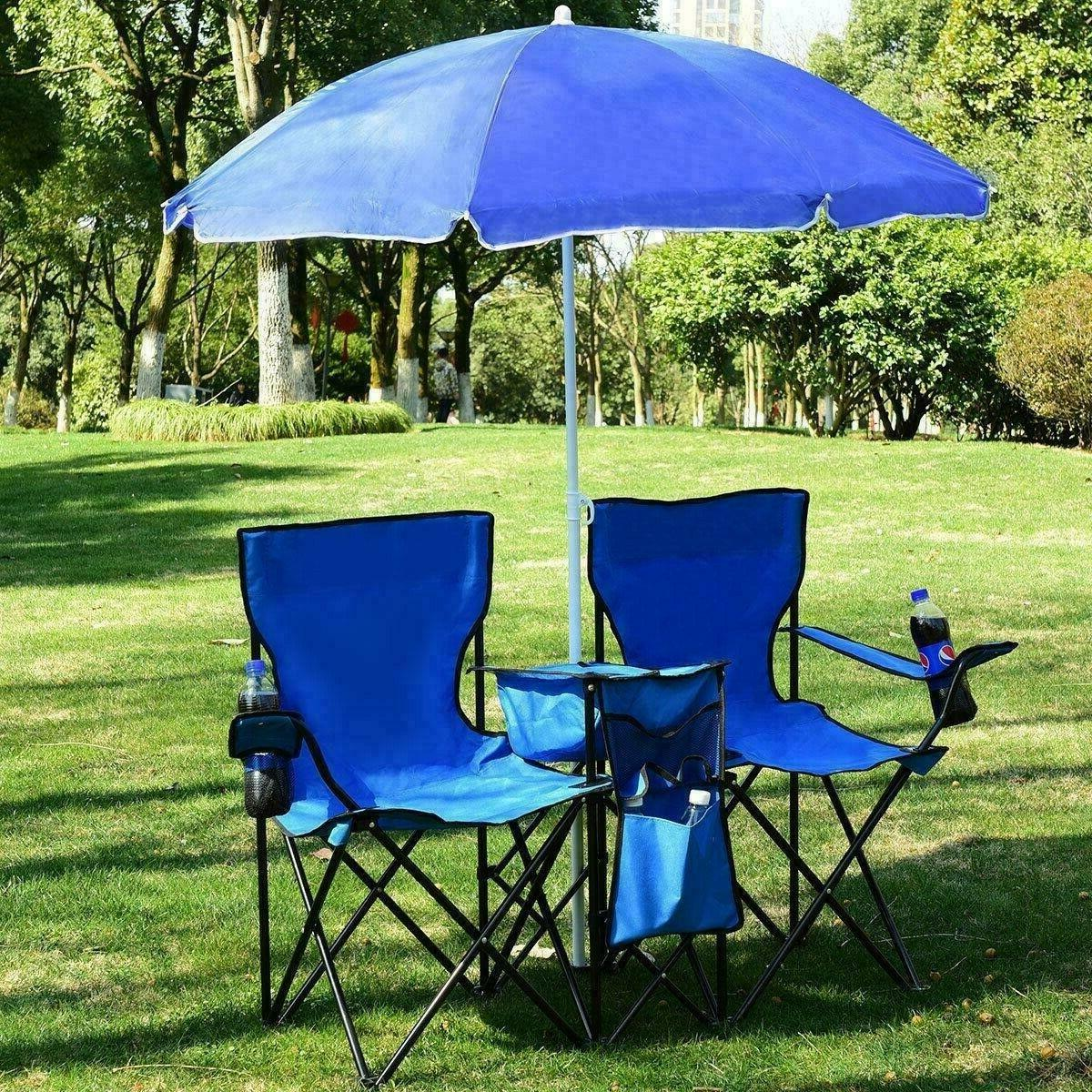 Camping Beach Seat Set Double Table Cooler