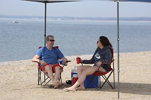 Quik Portable Folding Chair with Arm Cup and Storage Red