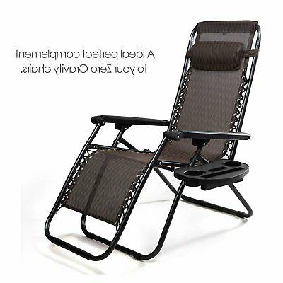 Chair Lawn Black Cup Holder Patio Lounge Pool Side
