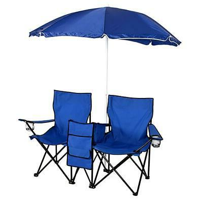 Foldable Double Chair+Umbrella Table Cooler