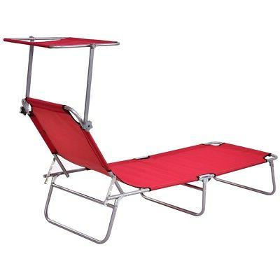 Foldable Outdoor Relax Lounge Beach Camping Recliner w/ Canopy