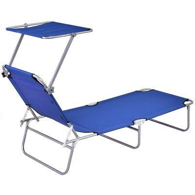 Foldable Outdoor Lounge Chair Bed Camping w/ Canopy