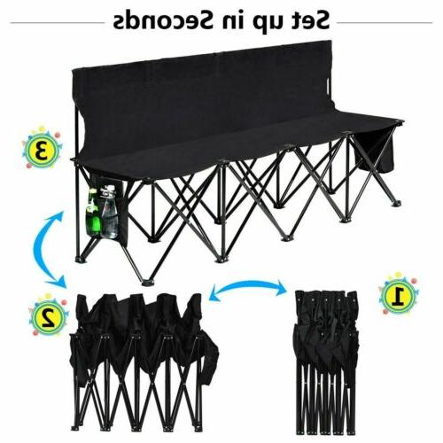 Folding Sports Sideline Bench Outdoor with Side Beach Camping Black
