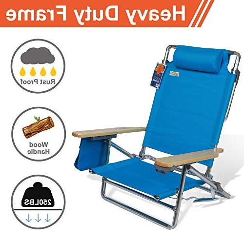 Best Folding Beach 5 Position Reclining Wide Seating Area Pouch Lightweight Frame Camping Hiking