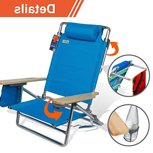 Best Beach 5 Position Reclining Seating Area Cup Storage Pouch Frame Camping