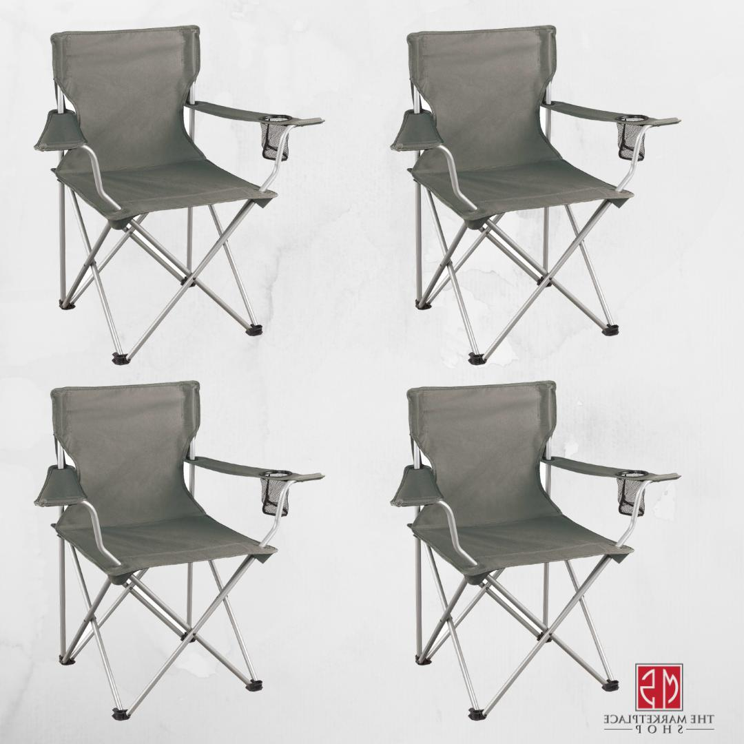 folding camping chair set of 4 portable