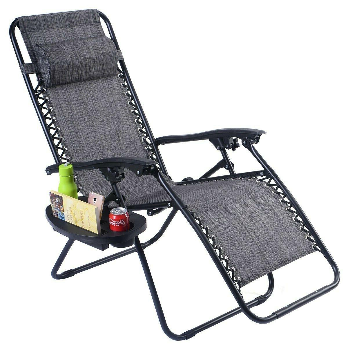 Folding Chaise Zero Chairs Outdoor Yard Lawn