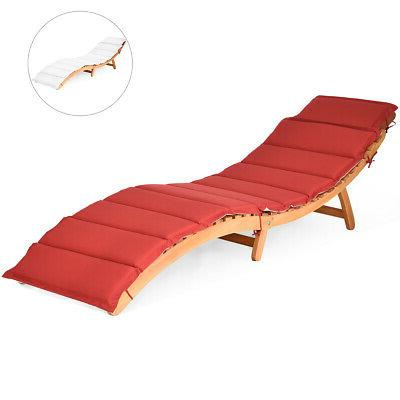 Folding Chair Chaise Red/White Pad Pool