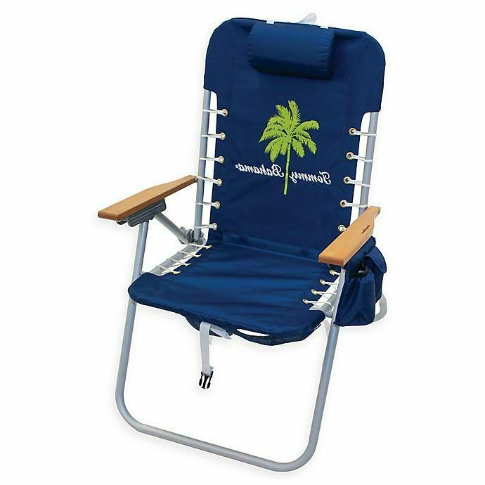 extended folding backpack beach chair with cup