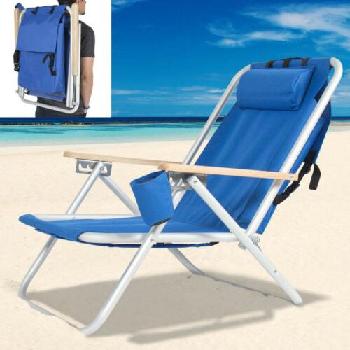 Portable Folding Backpack Beach Chair with Adjustable Padded