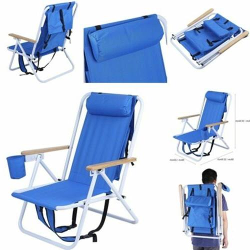 Outdoor Portable Backpack Beach Chair wIth Adjustable Padded