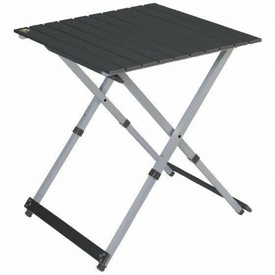 """Outdoor Compact Camp 25"""" Square Table Black Chrome Metal Cam"""