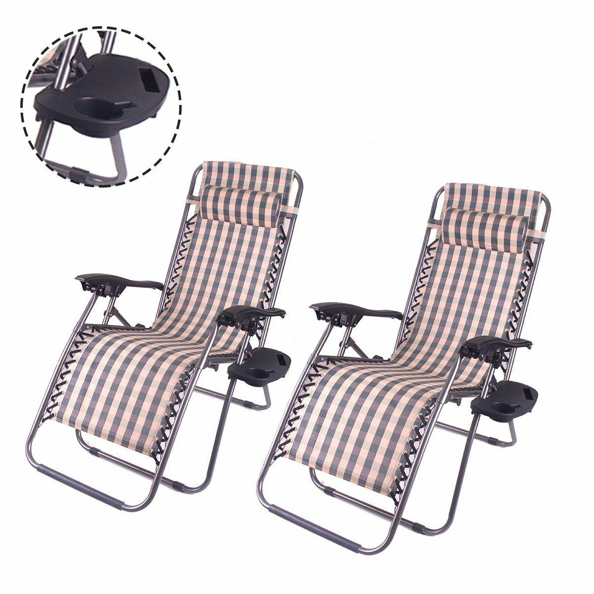 Outdoor Gravity Lounge Chair Beach Patio Folding 2PC