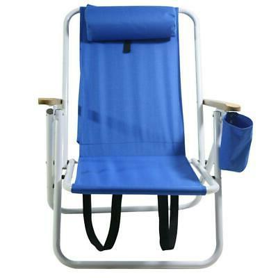 Portable Beach Chair Backpack Folding Seat Hiking Blue Solid Construct