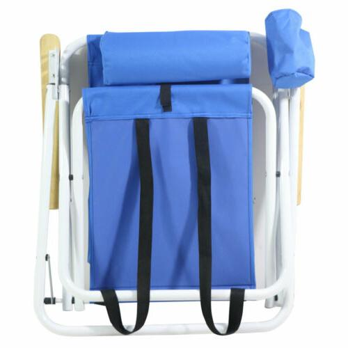 Outdoor Beach Chair wIth Adjustable Padded Headrest&Cup